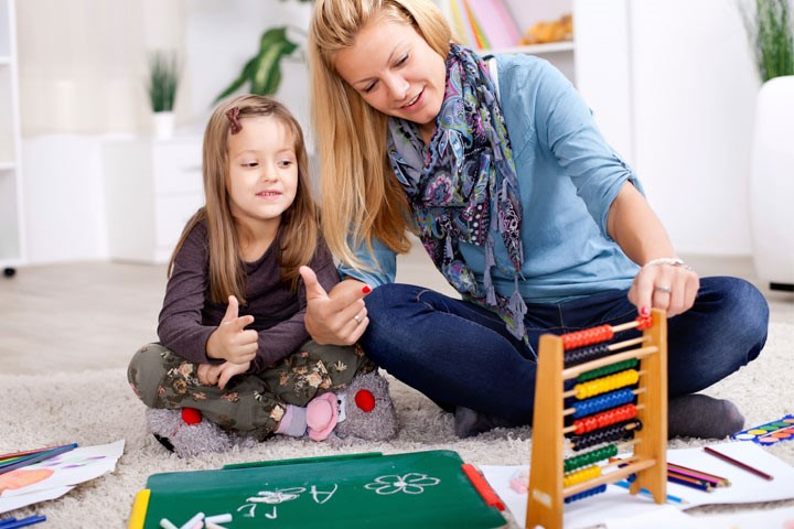 adult and child females using an abacus