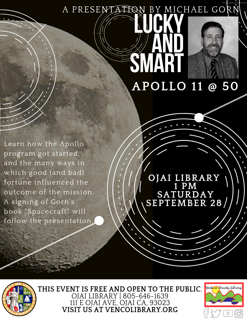flyer for event, info on calendar listing, black and white moon image, with image of author