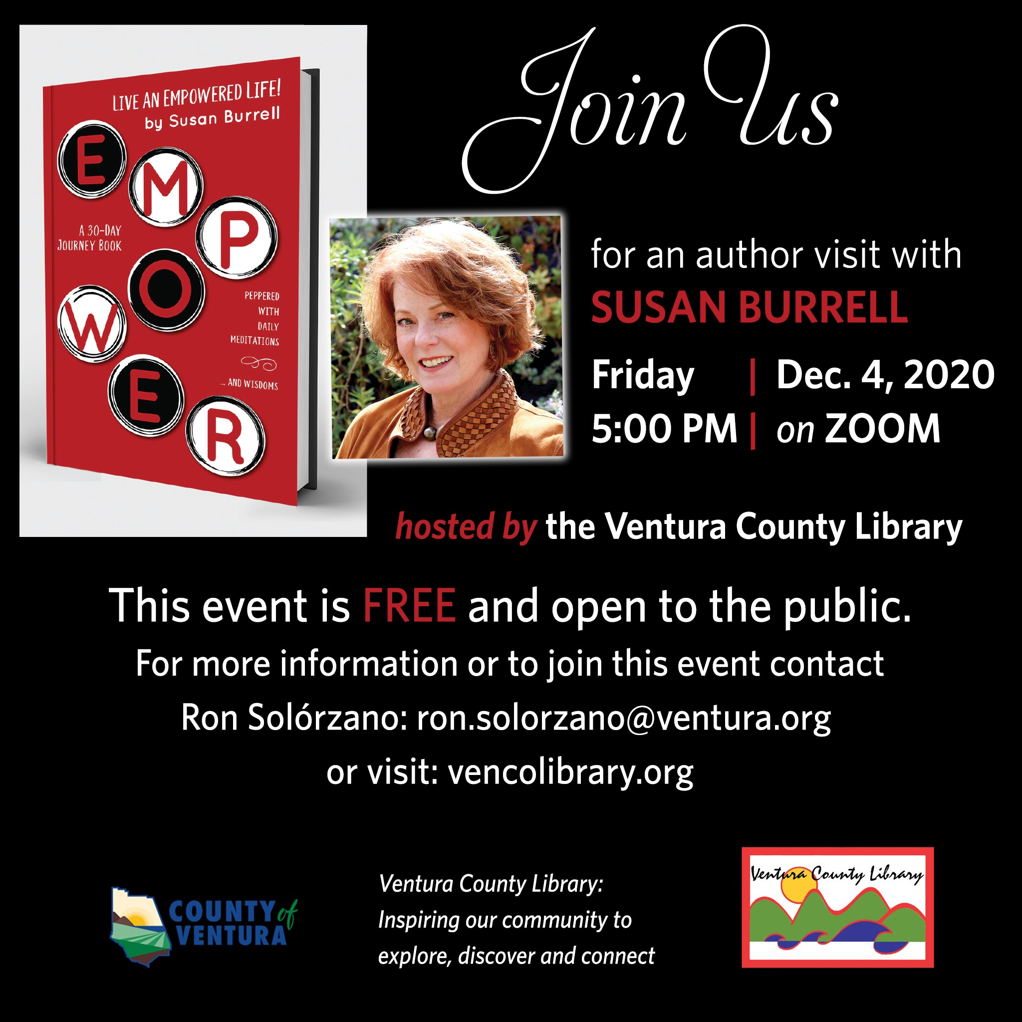 Joins us for an author visit with Susan Burrell - photo of Ms. Burrell along with her book's cover art