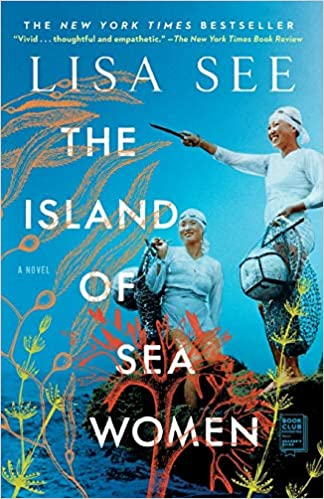 Book cover for Island of the Sea Women by Lisa See. Cover is blue with two women standing the beach ready to dive.