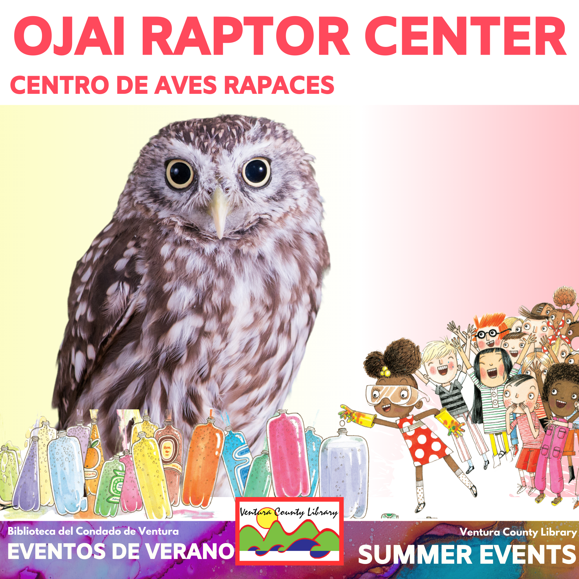 photo of owl with graphics of schoolchildren performing a science experiment. Text reads Ojai Raptor Center: Centro de aves rapaces