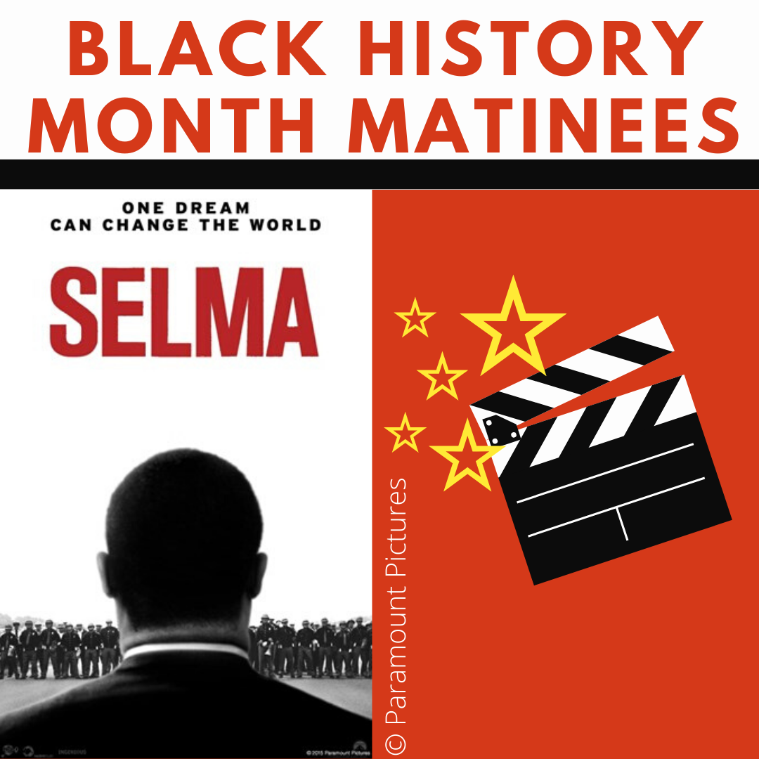 Movie poster for Selma - shows the back profile of Martin Luther King Jr
