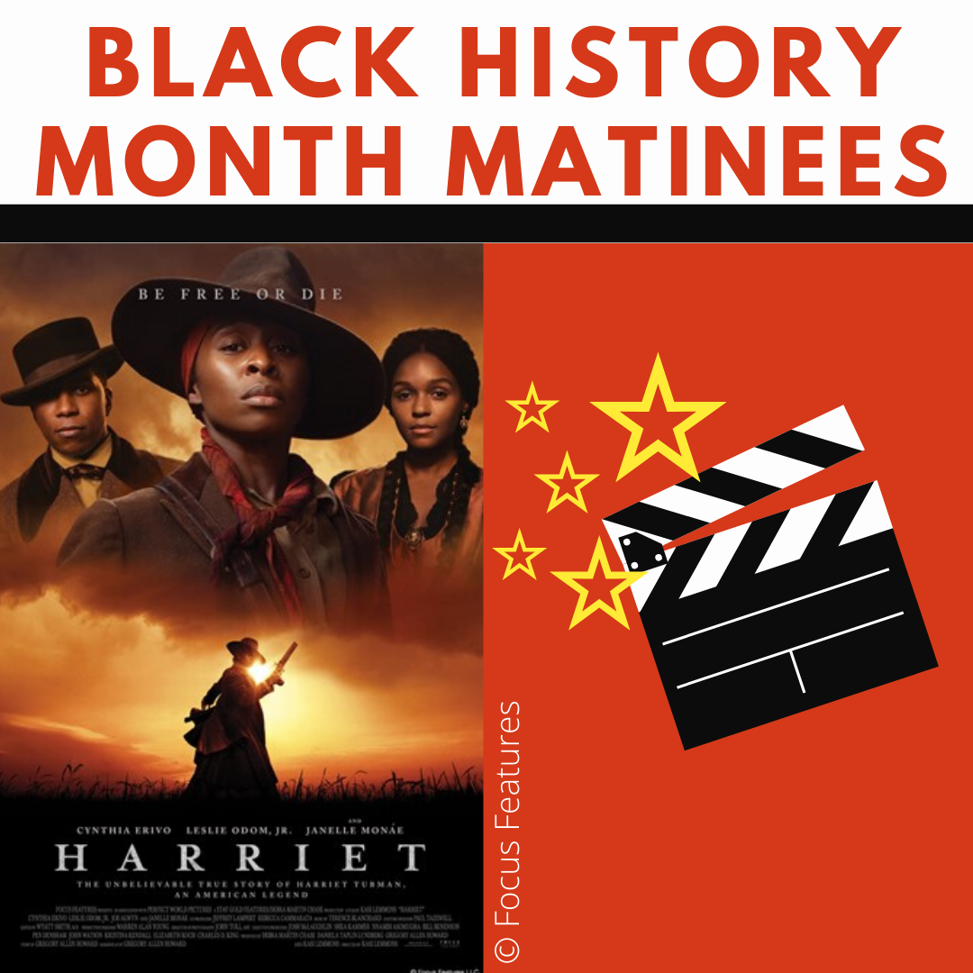 Movie poster for Harriet- shows three actors and a silhouette of Harriet Tubman holding a revolver