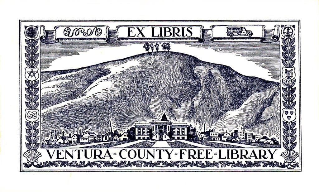 "Vintage ""Ventura County Free Library"" book plate featuring 5 trees (now 2 trees) and the old Foster Library"