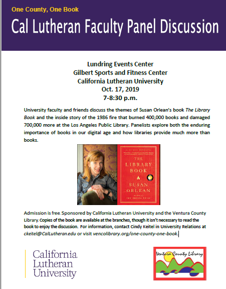 Flyer for One County, One Book Cal Lutheran Faculty Panel Discussion. Information is in this event description.