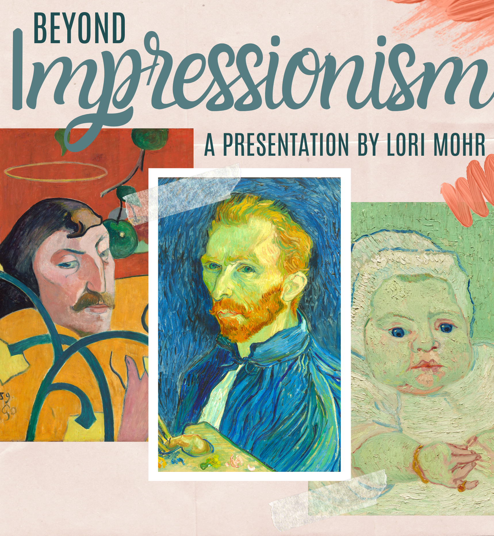 two portraits painted by Van Gogh and one portrait painted by Gauguin are depicted. Text on flyer found within event post.
