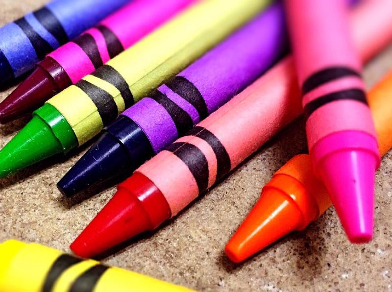 Colorful unused crayons