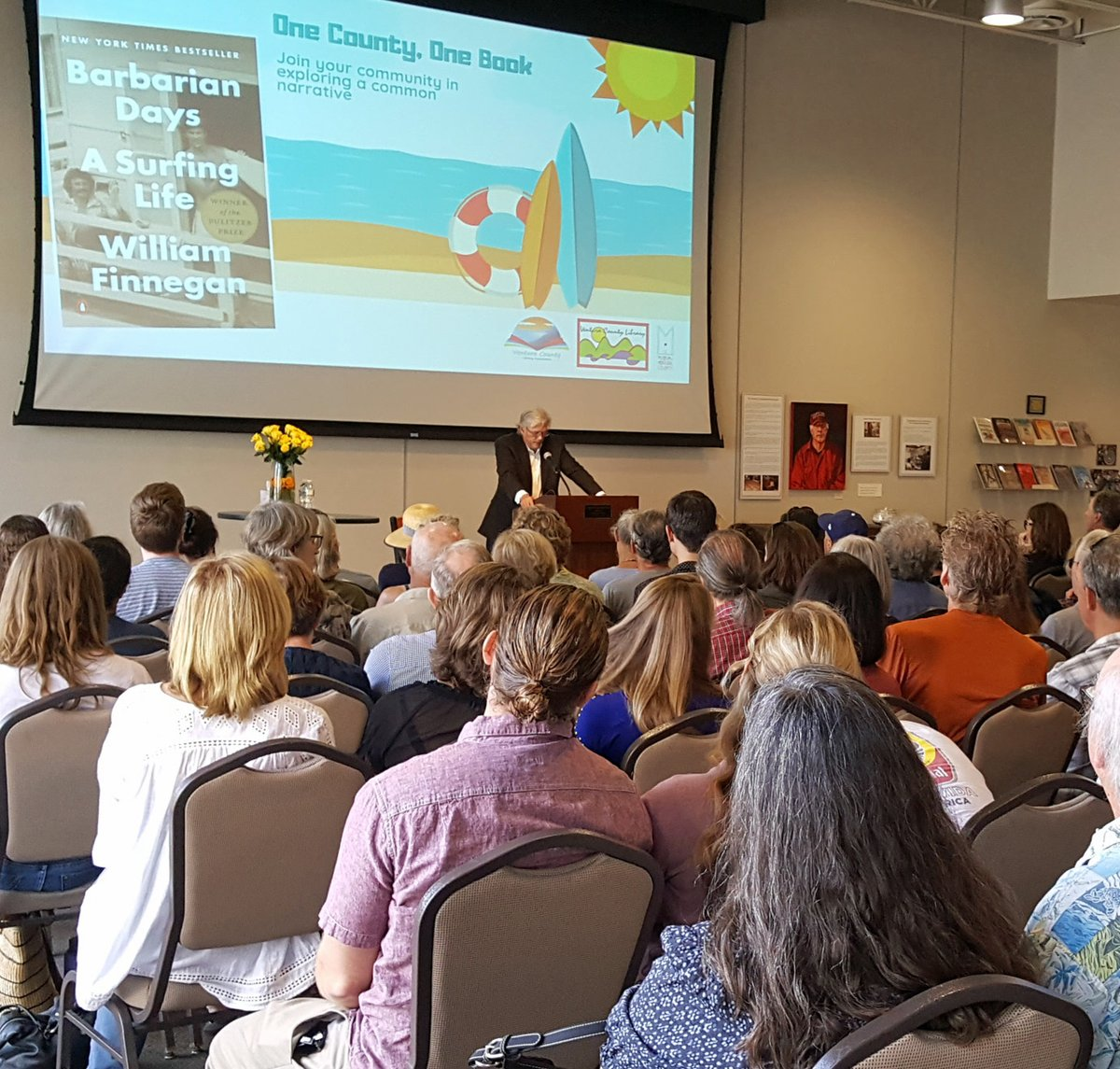 Live crowd for book discussion of Barbarian Days: A Surfing Life by William Finnegan
