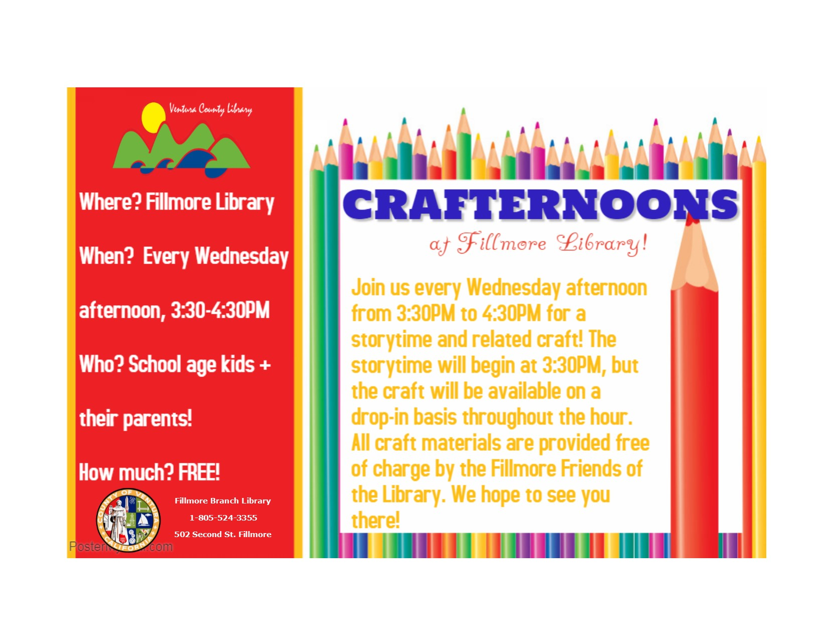 Flyer for Crafternoon at Fillmore Library