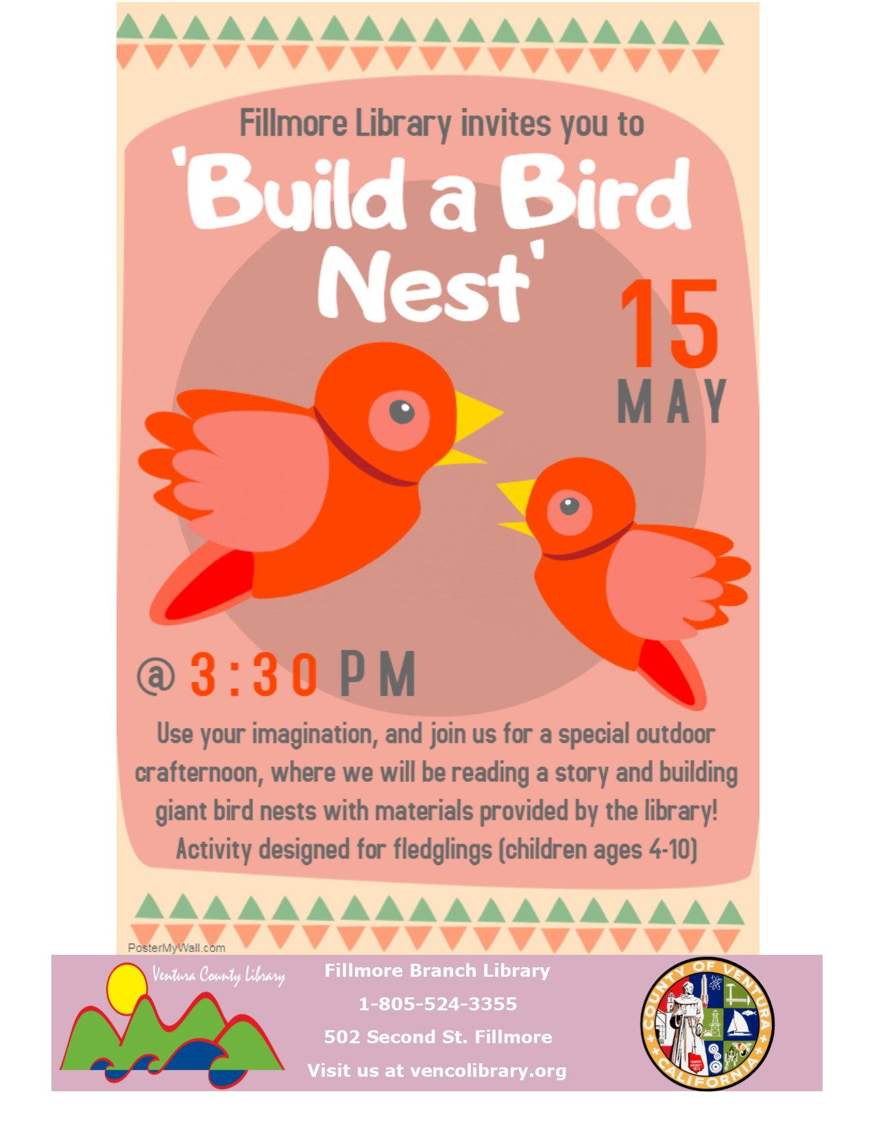 Flyer for event, info in calendar listing. Flyer is colorful and has a couple of birds on it.