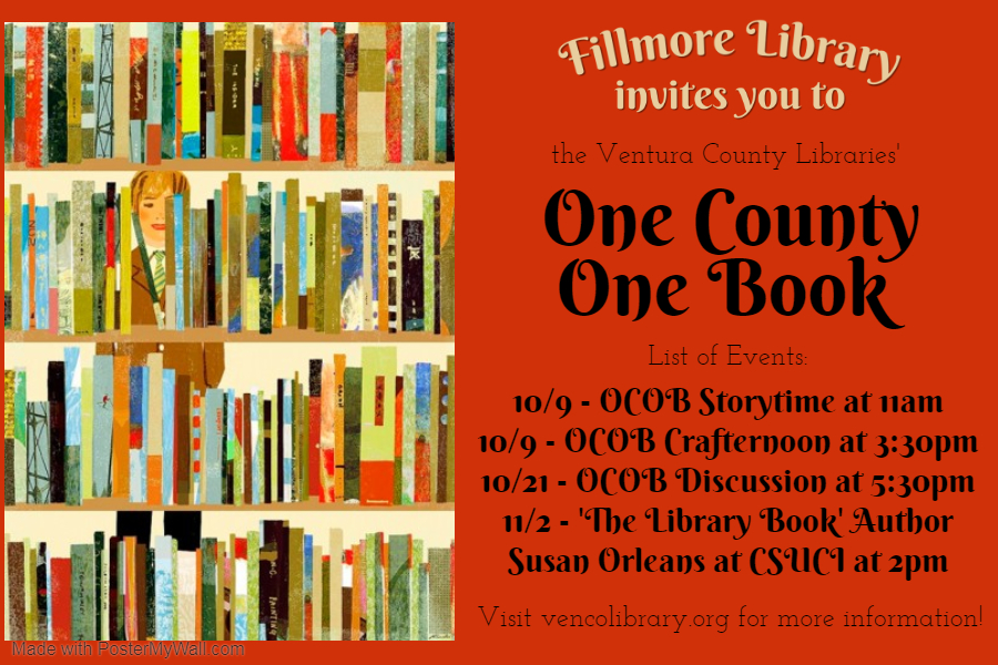 Fillmore OCOB flyer showing bookcase with figure behind it. Text on calendar listing.