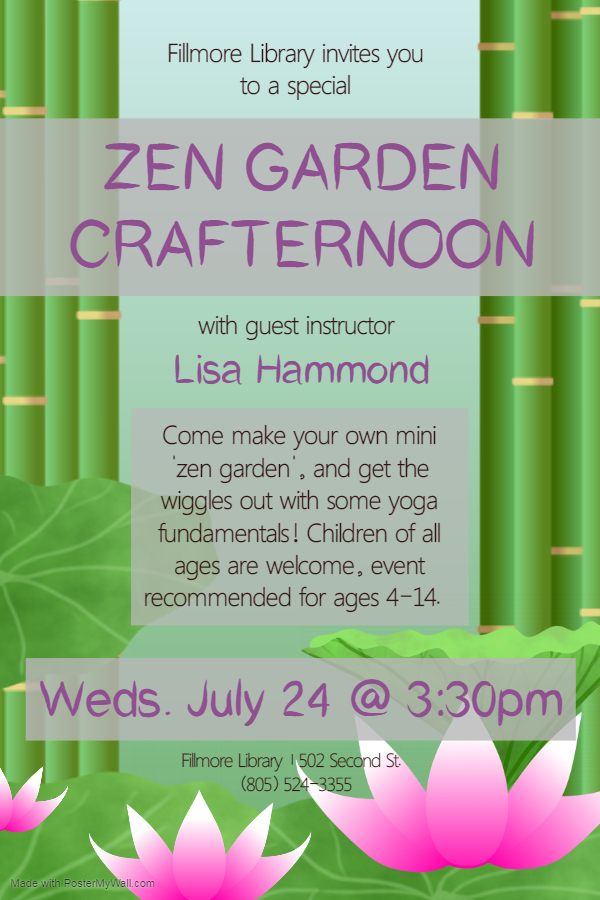 Flyer for Zen Garden Crafternoon at Fillmore Library