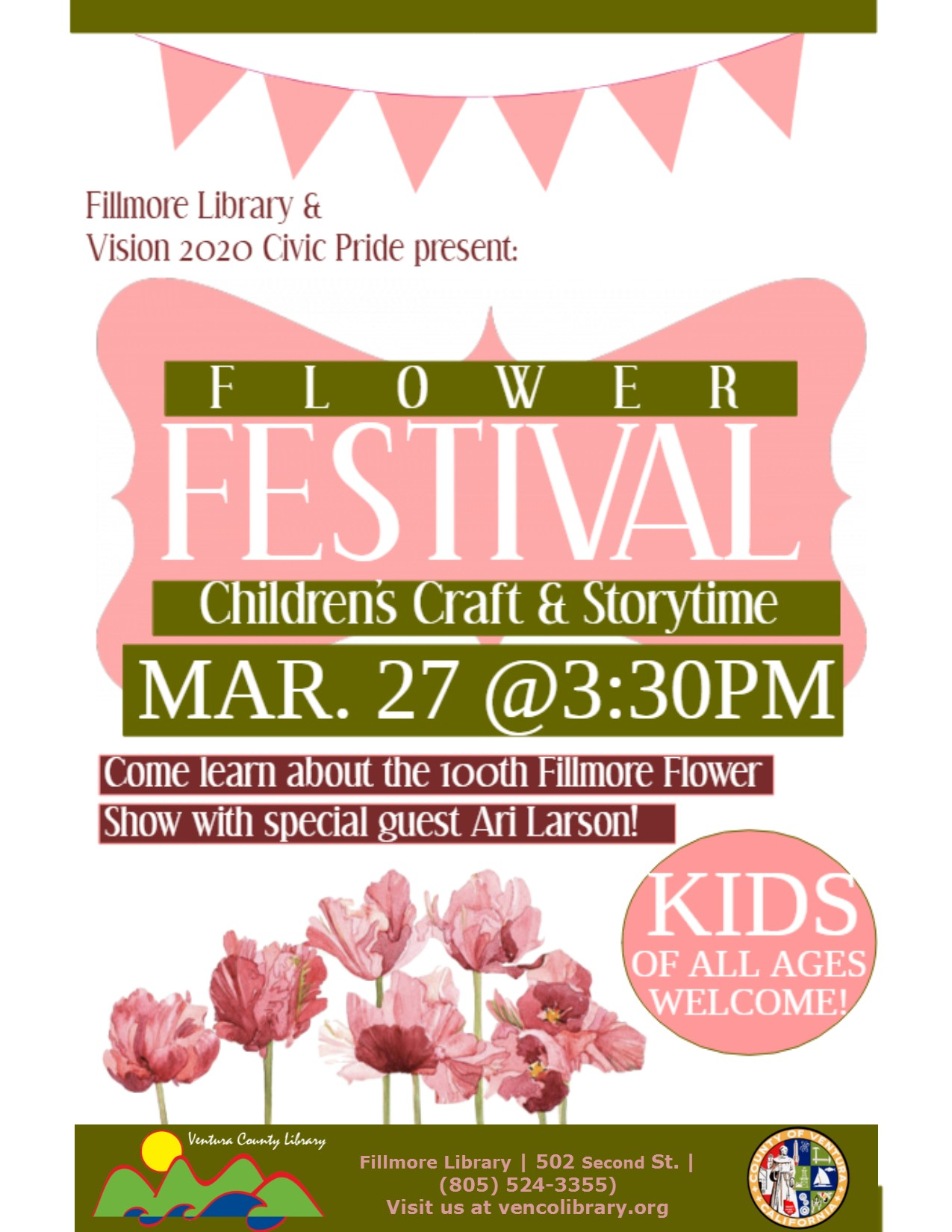 Flyer for event, info in calendar listing. Flyer is pink and green and full of flowers.