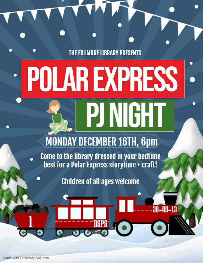 Polar Express PJ Night flier. Details in calendar post. in ca