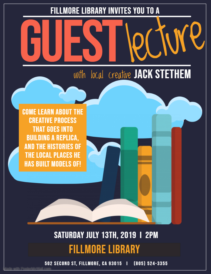 Flyer for Jack Stethem lecturer and local creative