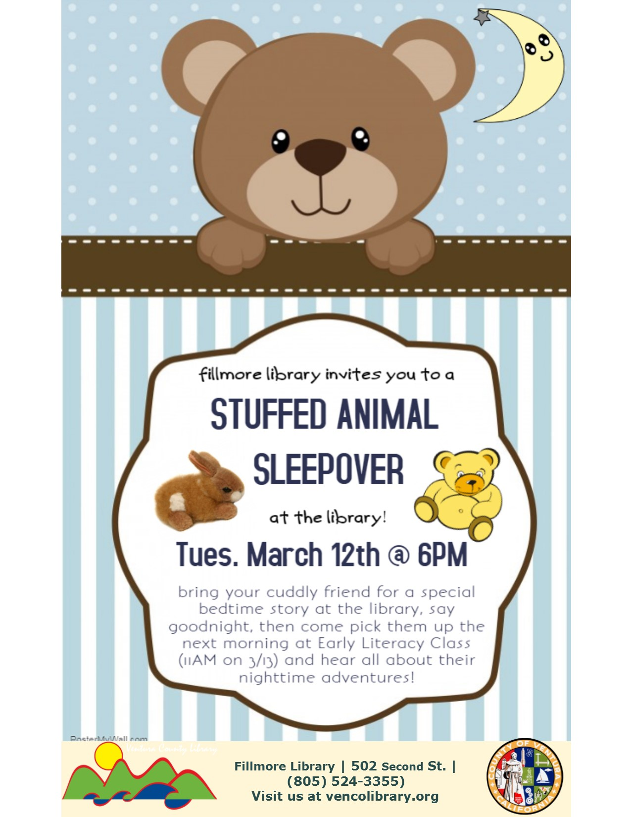 Event flyer with teddy bear image