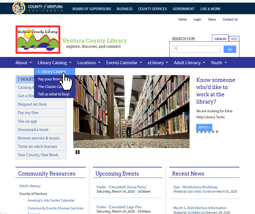Home page of vencolibrary.org showing the library catalog section selected