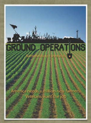 Ground Operations: Battlefields to Farmfields poster showing rows of crops in a farm field with a silhouette of a battle scene on the horizon