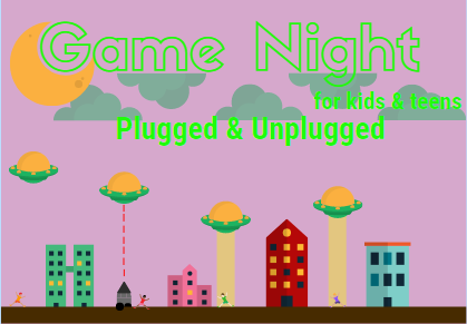 Retro gaming scene with a pink background and the words 'Game Night for kids & teens plugged & unplugged'
