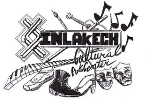 Inlakech in bold block letters, cultural arts center in handwriting. Hand drawn piano keys, guitar, dance shoes, paint brush, and pencil, music notes, masks, and a symbol.