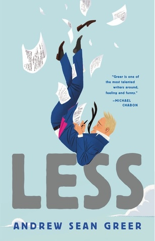 book cover for the novel Less. Shows a blonde man in a suit falling backwards through air while writing. Pages are falling through the air.