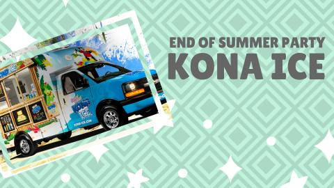 Nested diamond pattern in background, shades of blue. End of Summer Party KONA ICE in gray letters. Picture of the kona ice truck at a jaunty angle. White sparkles/dots as decoration.
