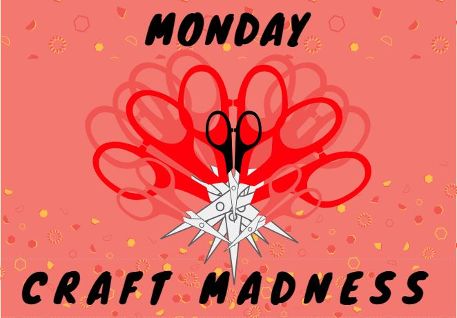 red background with a heart made out of many pairs of scissors in a heart shape.  says monday craft madness in black