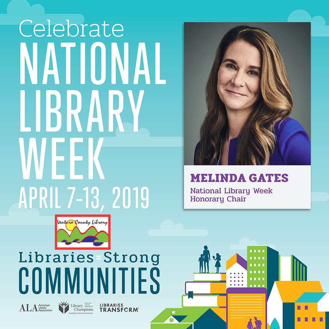 National Library Week poster with picture of honorary chair Melinda Gates