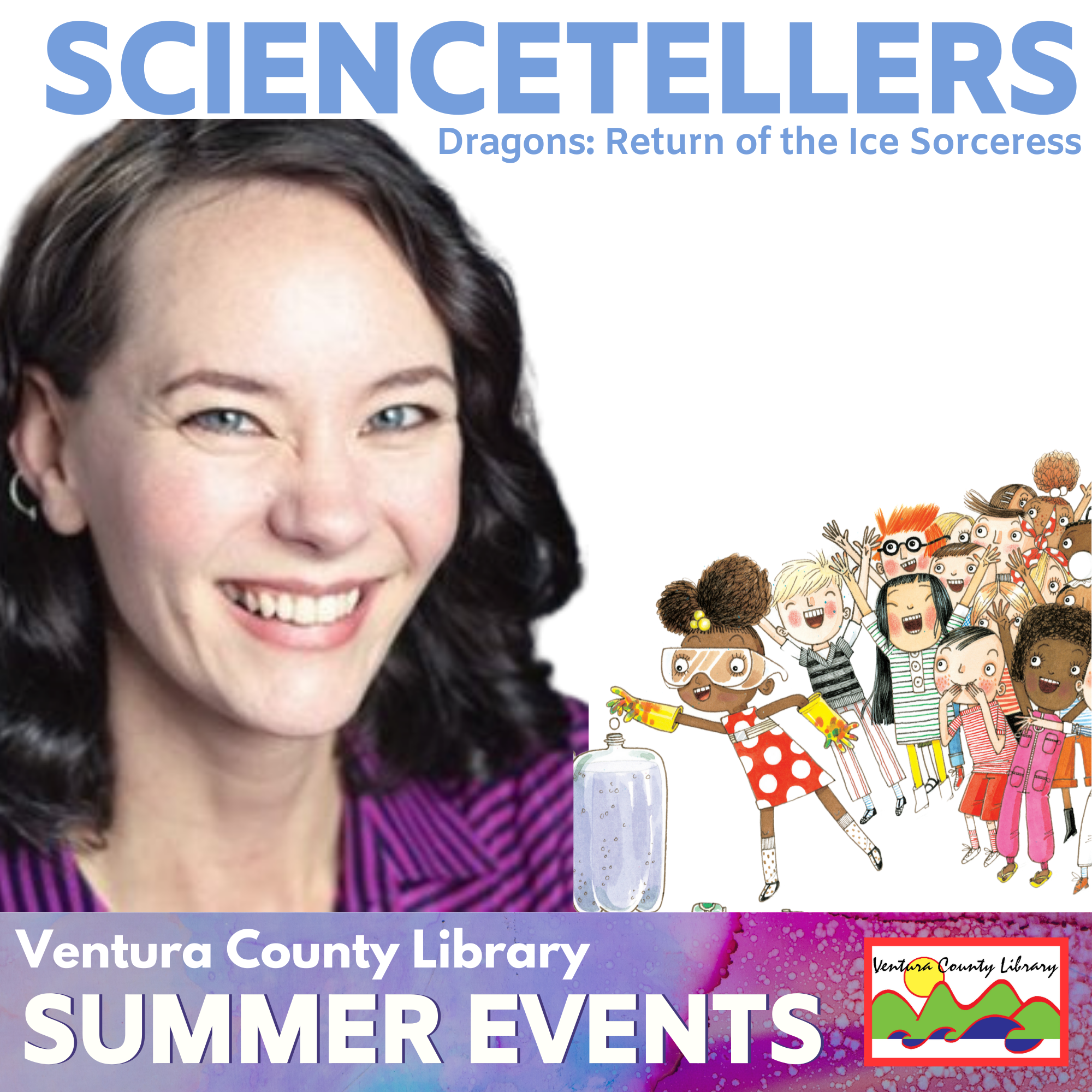 smiling woman next to an illustrated crowd of children. text displayed is title of the event.