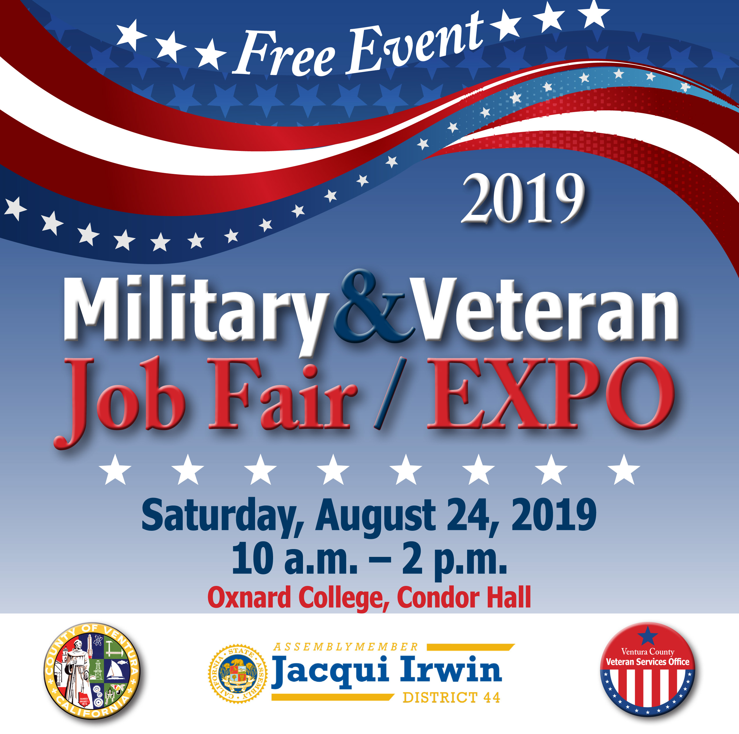 Free Event - 2019 Military & Veteran Job Fair & Expo at Oxnard College, August 24 from 10am to 2pm