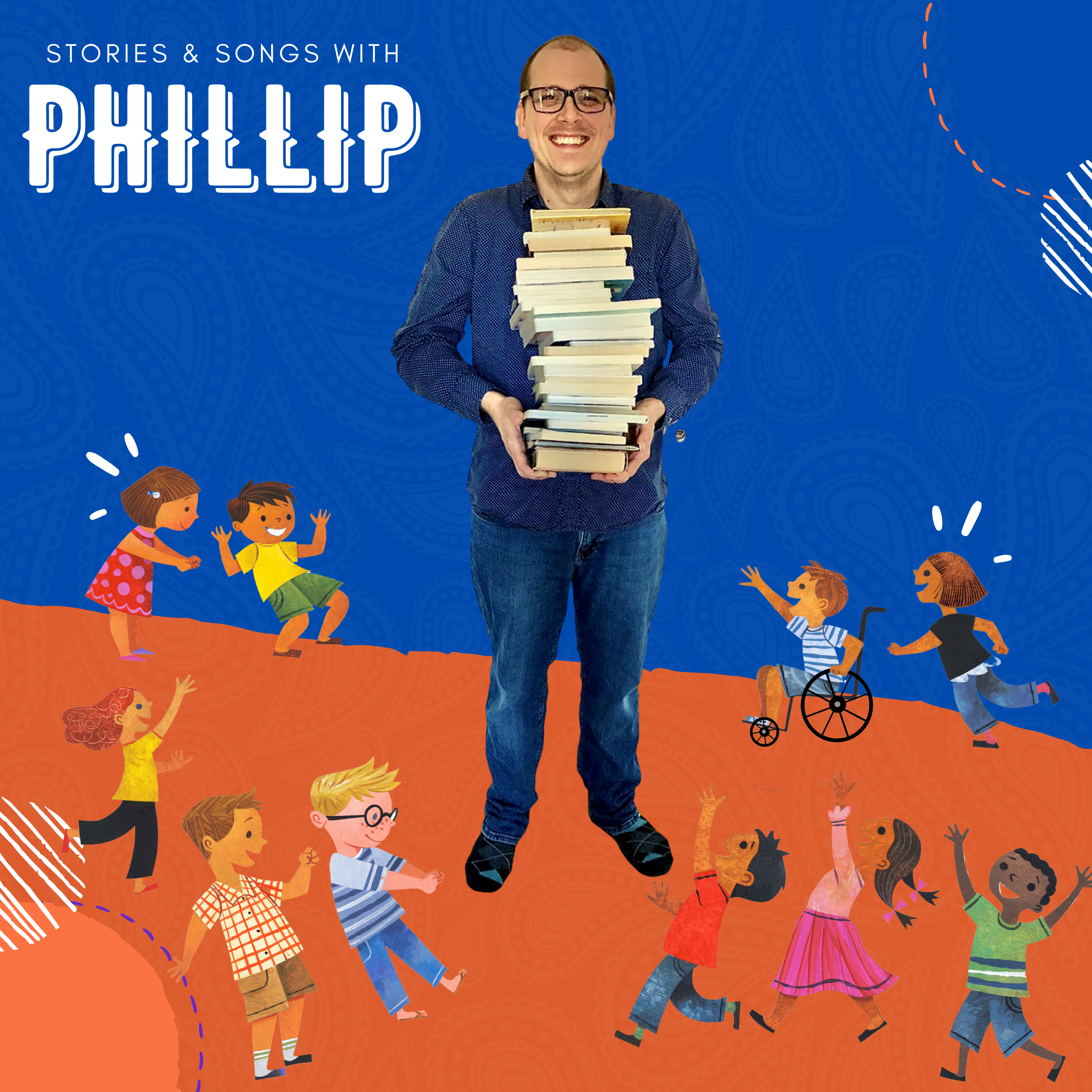 image shows man holding a stack of books. cartoon children run and play everywhere