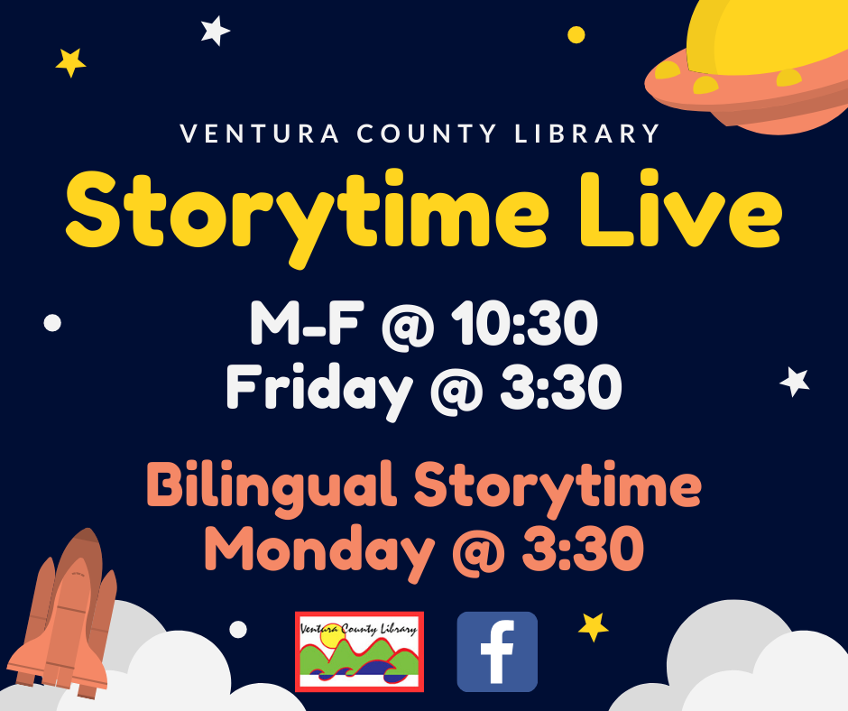infographic with outer space theme that shows the weekly schedule for Storytime Live on FB