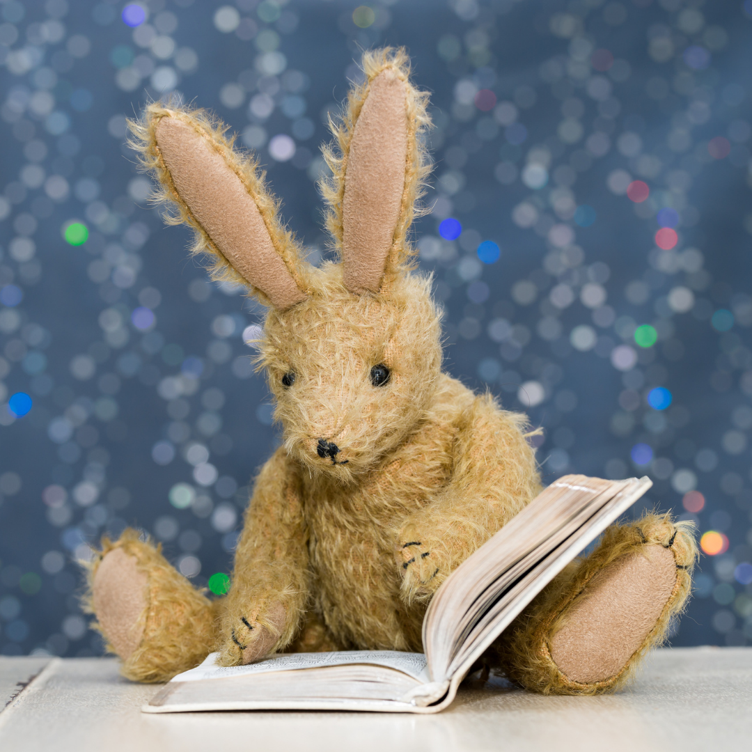 Photo of a plush bunny reading a book.