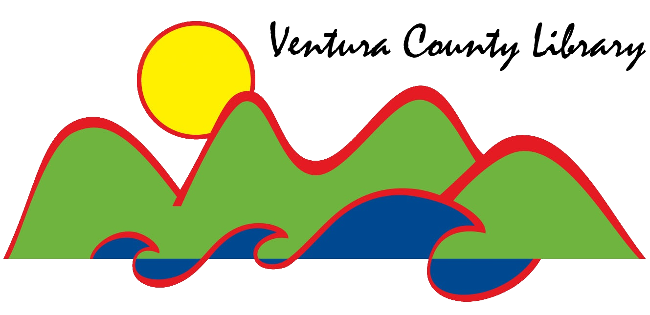 Ventura County Library logo, green mountains, blue waves, yellow sun. All have a red outline. Penned brush stroke font: Ventura County Library.