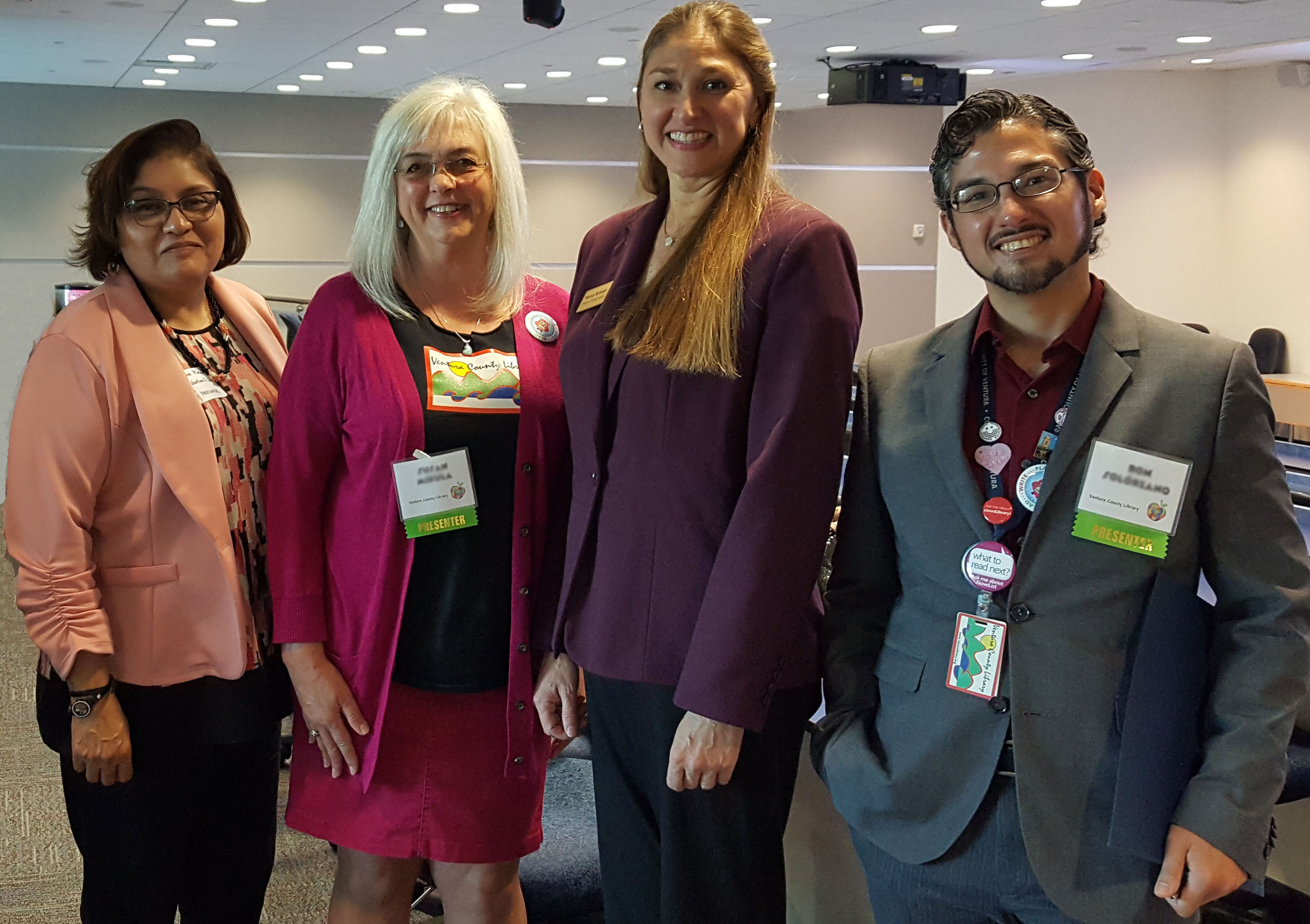 4 staff members of Ventura County Library representing different gender, age, and ethnicity