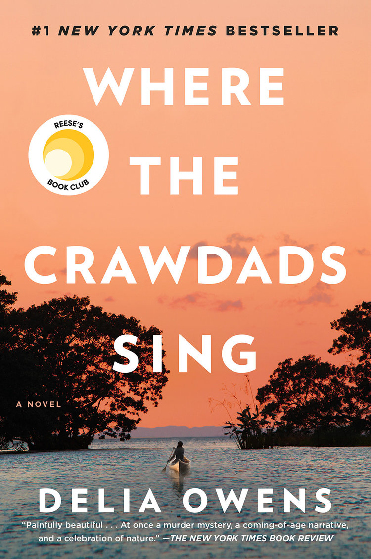 book cover for Where the Crawdads Sing - shows a peach sunset and a girl canoeing through marshland into the ocean