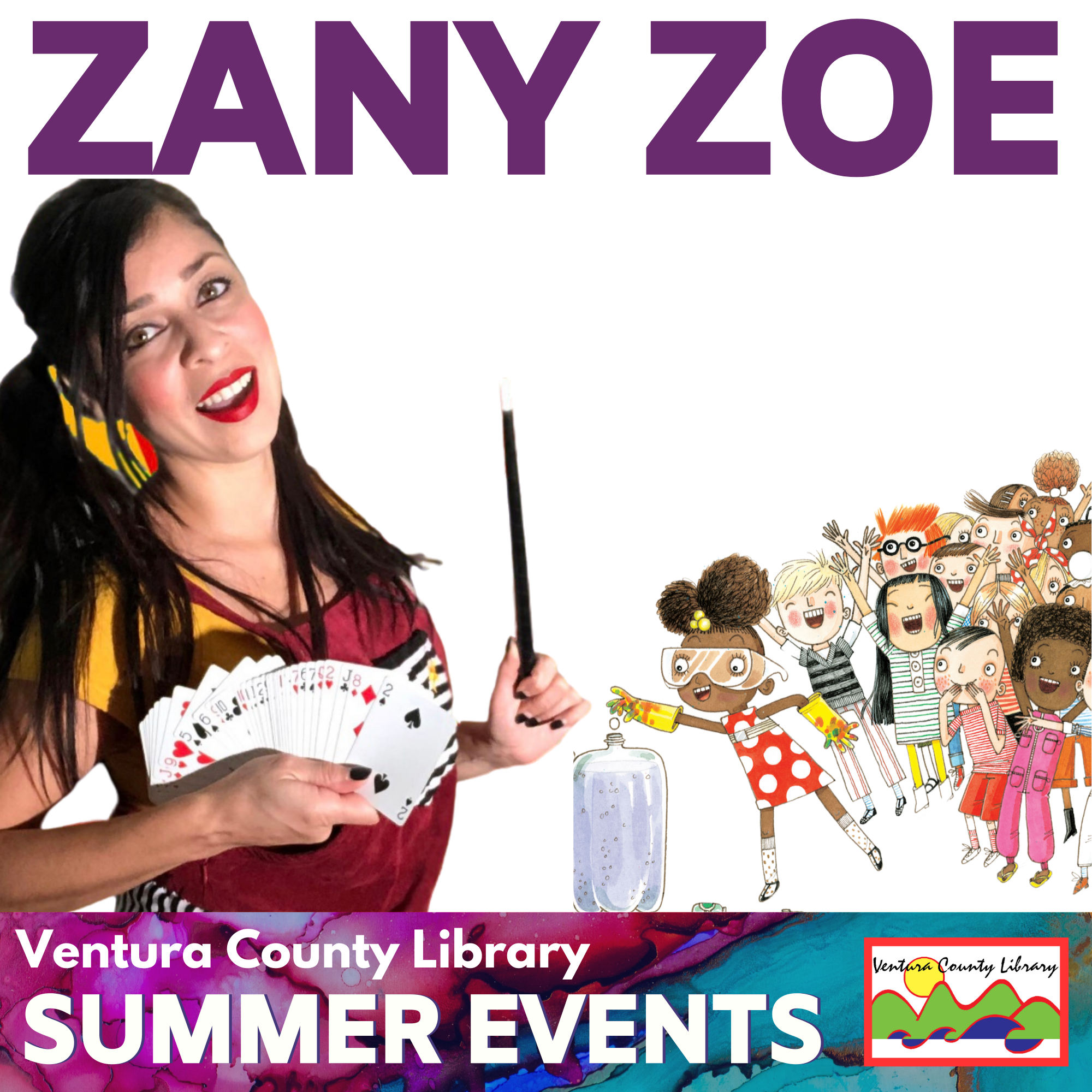 woman holds a spread out deck of playing cards and a wand. next to an illustrated crowd of children. text found in event description.