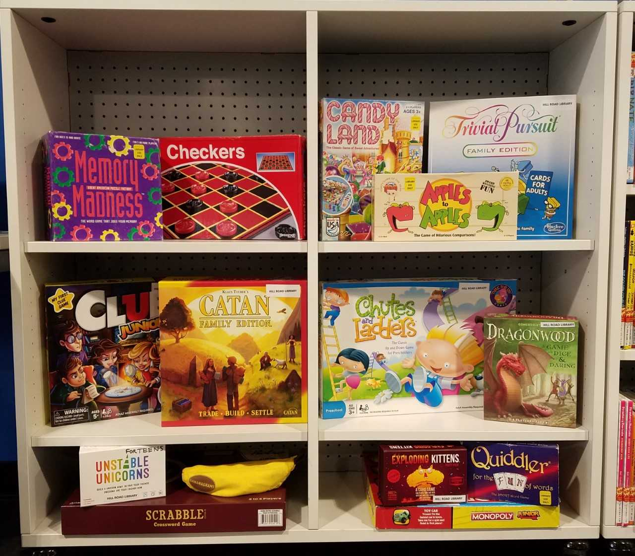 photos shows all of the various board games available at the library