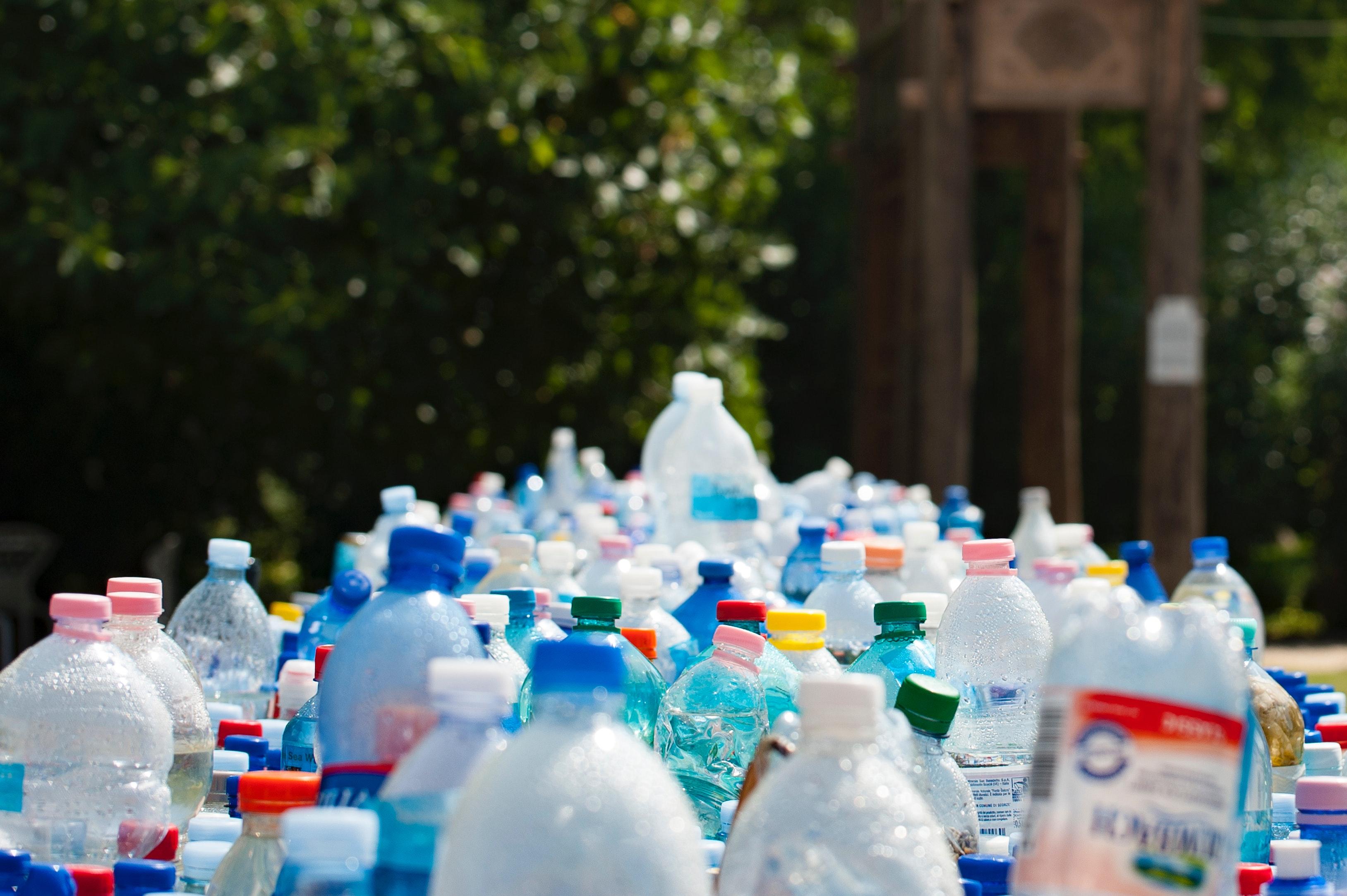 a scene of plastic bottles