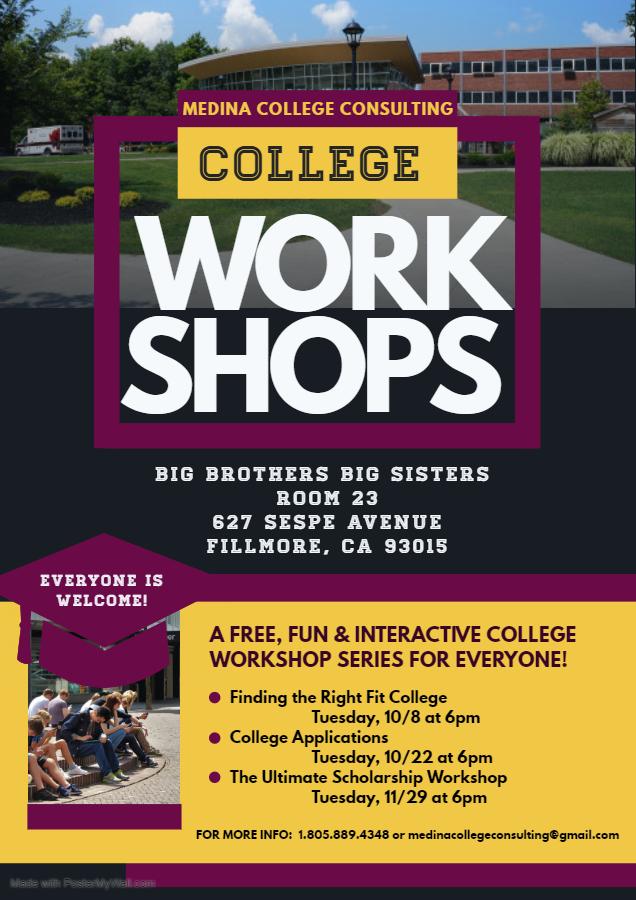 Fillmore College workshop flier.