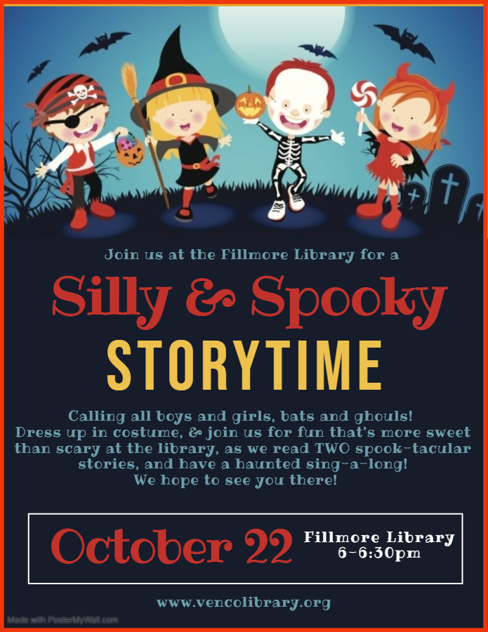 Fillmore Silly & Spooky Storytime flier. Calendar entry has text of flier.