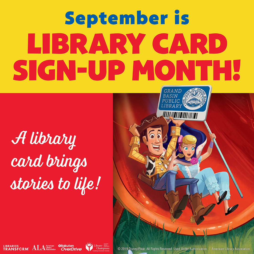 September is Library Card Sign-up month picture with Toy Story characters