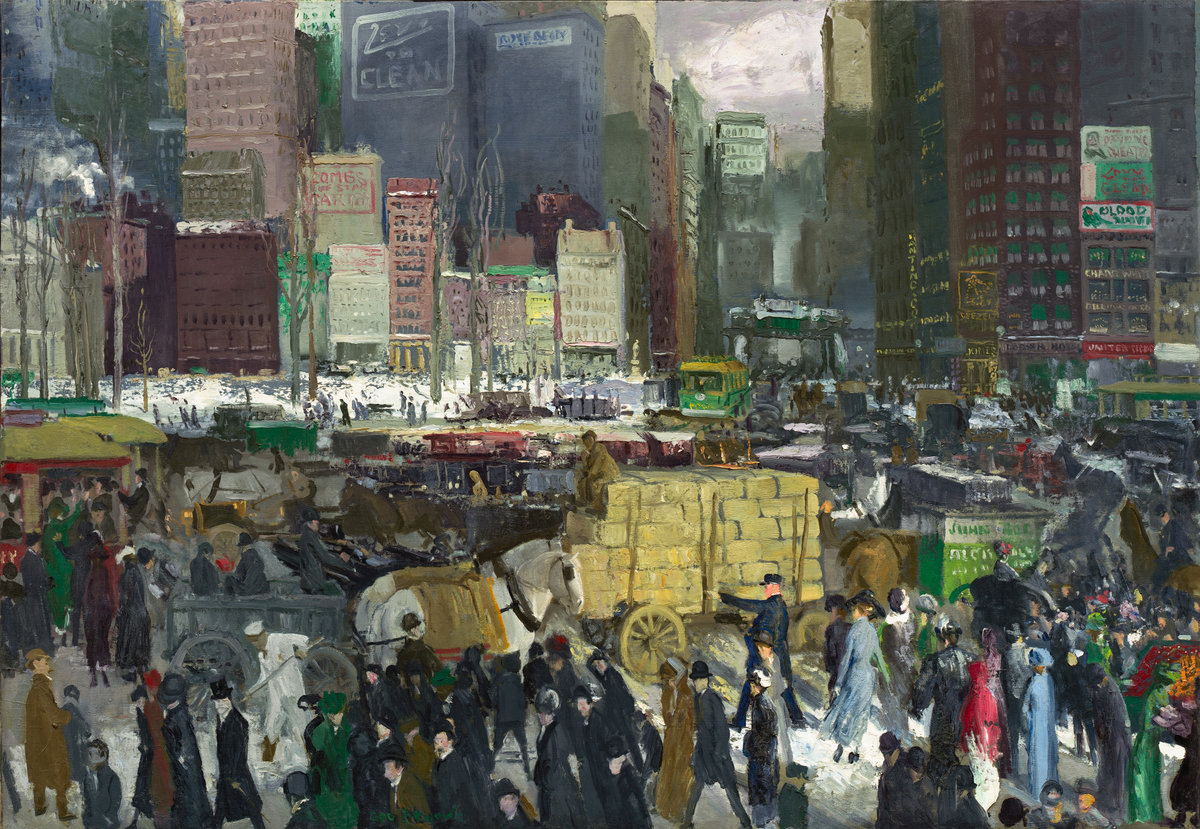 painting by george bellows of a crowded new york city scene from the early twentieth century