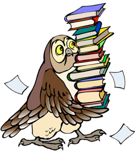 Cartoon of owl carrying a stack of books