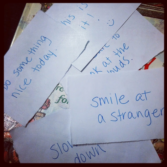Positive thoughts written on scratch paper