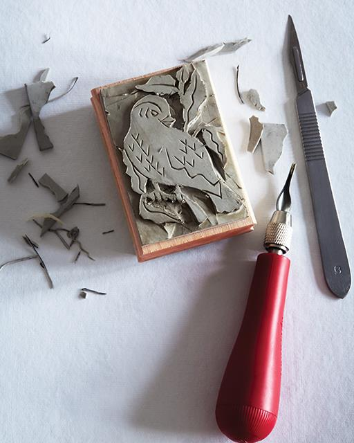 Photo of stamp carving.