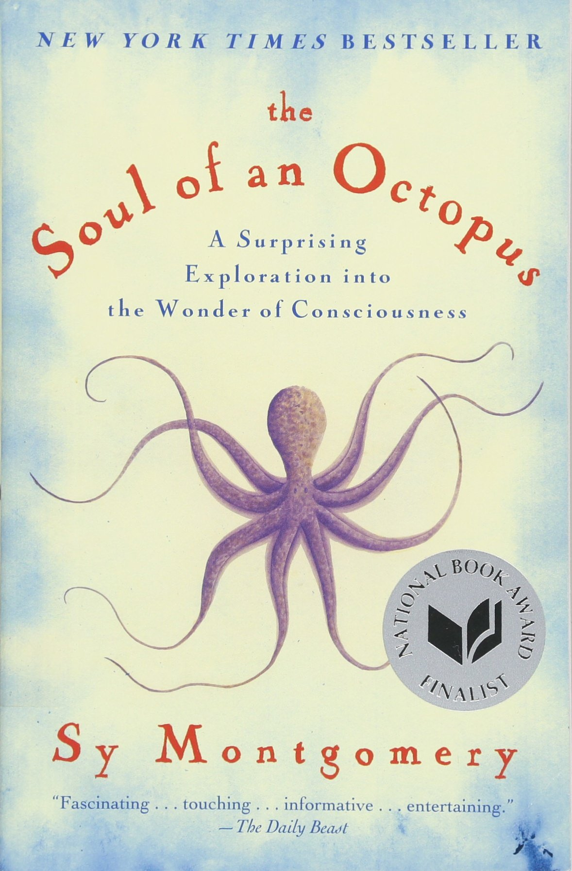 book cover for the soul of an octopus. Shows a large purple octopus and a medal indicating that the book was a national book award finalist