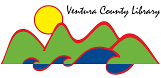 Green rolling hills, blue waves, and a yellow sun with the text: Ventura County Library