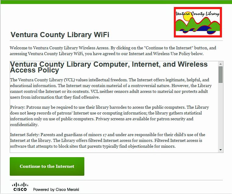 VCL Wifi login page