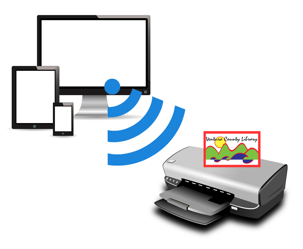 Devices offsite send print jobs to the library via wifi